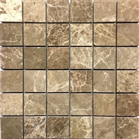 Emperador Light Marble 2x2 Polished Mosaic Tile