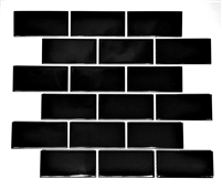 2x4 Black Glossy Subway Ceramic Tile