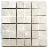 "2""x2"" Light Ivory Honed Travertine Mosaic Tile"