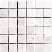 Glacier White 2x2 Tumbled Aged Marble Floor and Wall Tile
