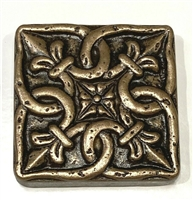 "Gordion 2""x2"" Metal Bronze Resin Decor Insert Accent Piece Art Craft Wall Tile"
