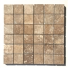 2x2 Walnut Honed Filled Straight Edge Travertine Wall Mosaic Tile