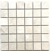 2x2 Light Ivory Honed Travertine Mosaic Tile