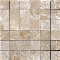 Emperador Light Mosaic 2x2 Tumbled Marble Tile