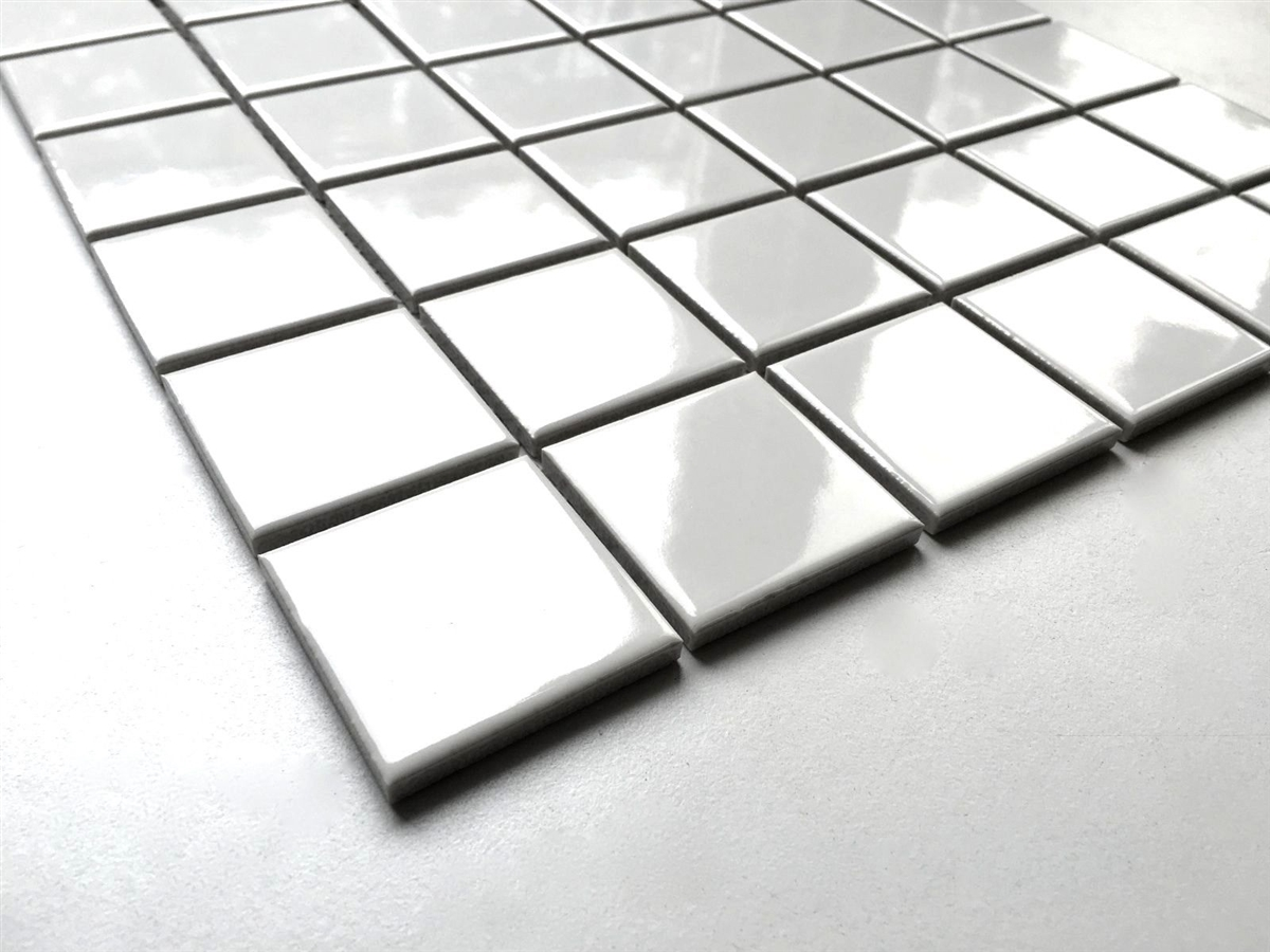 White 2x2 Shiny Porcelain Mosaic Tile