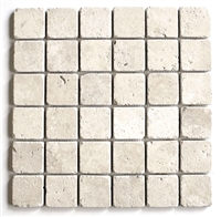 2x2 Premium Light Tumbled Aged Travertine Mosaic Tile
