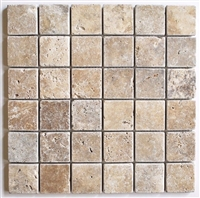 2x2 Walnut Tuscany Tumbled Travertine Mosaic Tile