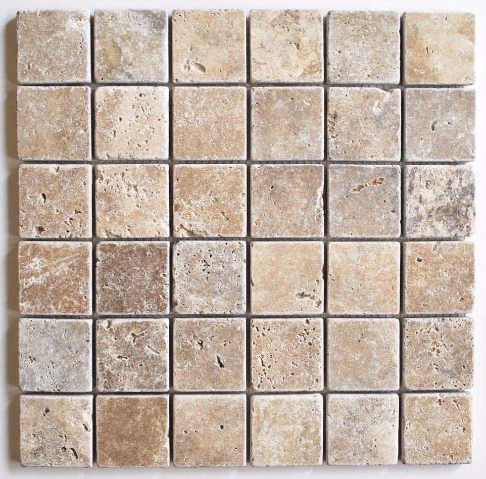 2x2 Walnut Tuscany Tumbled Travertine Mosaic Tile