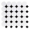 White and Black Mixed Octagon Glossy Porcelain Mosaic Floor and Wall Tile