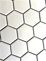 "White 2"" Hexagon Glazed Matte Porcelain Mosaic Floor and Wall Tile"