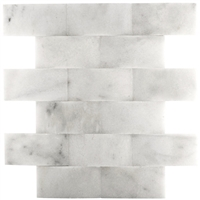 Carrara 2X4 Wavy Honed Marble Mosaic Wall Backsplash Tile