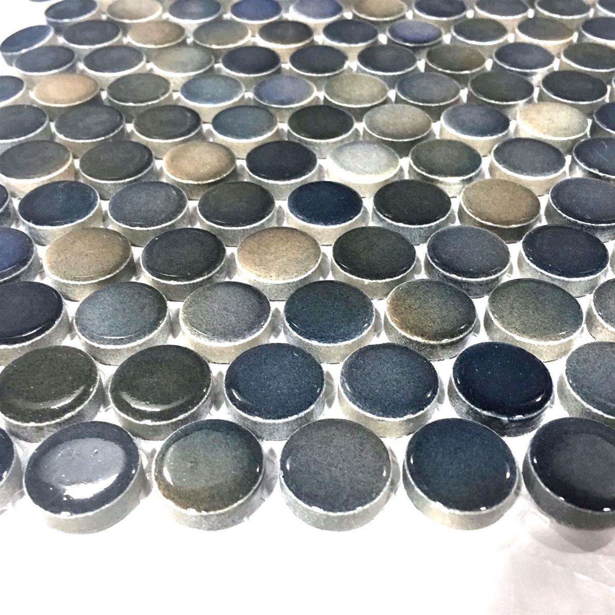 Penny Round 34 Multi Color Blue Porcelain Mosaic Wall And Floor Tile