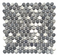 3/4 x 3/4 Penny Round Multi Gray Porcelain Mosaic Wall and Floor Tile