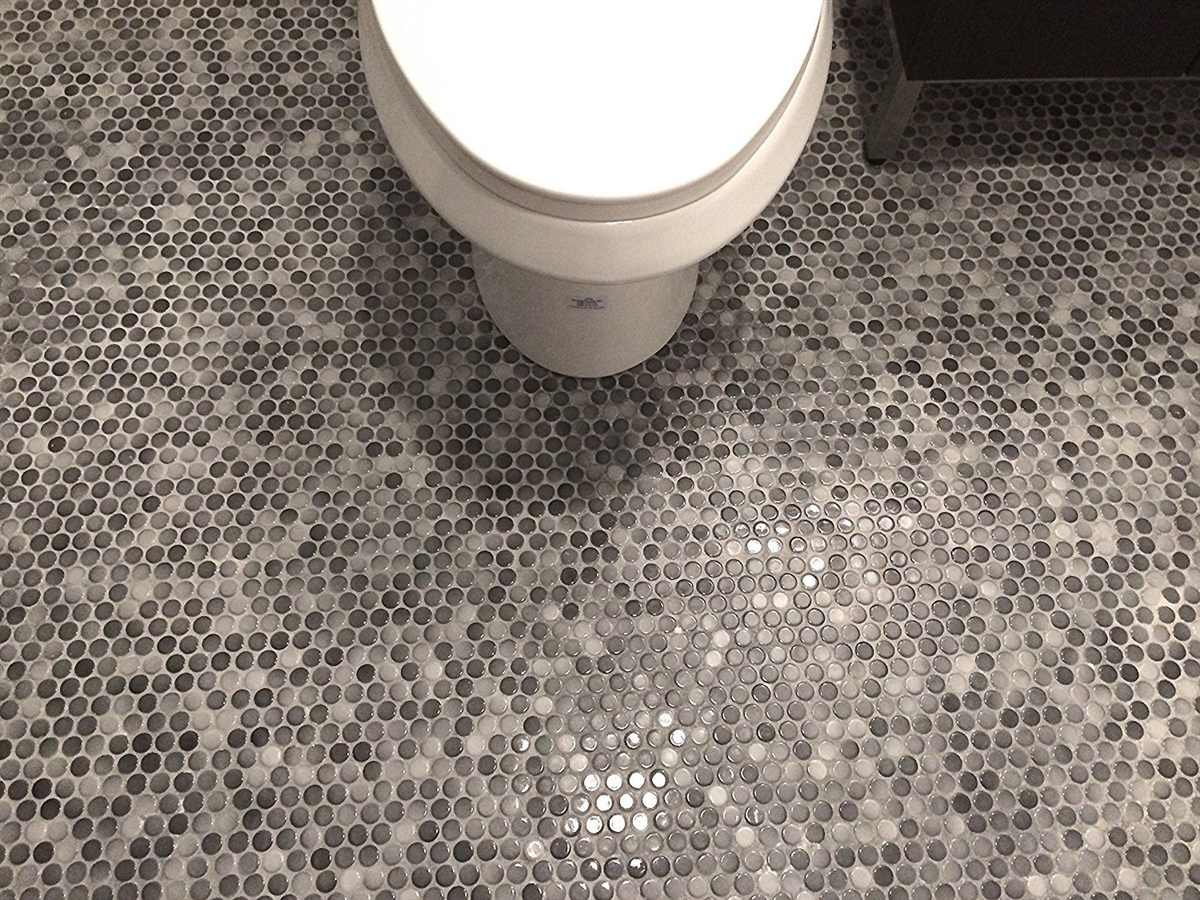 3 4 X 3 4 Penny Round Multi Gray Porcelain Mosaic Wall And Floor Tile