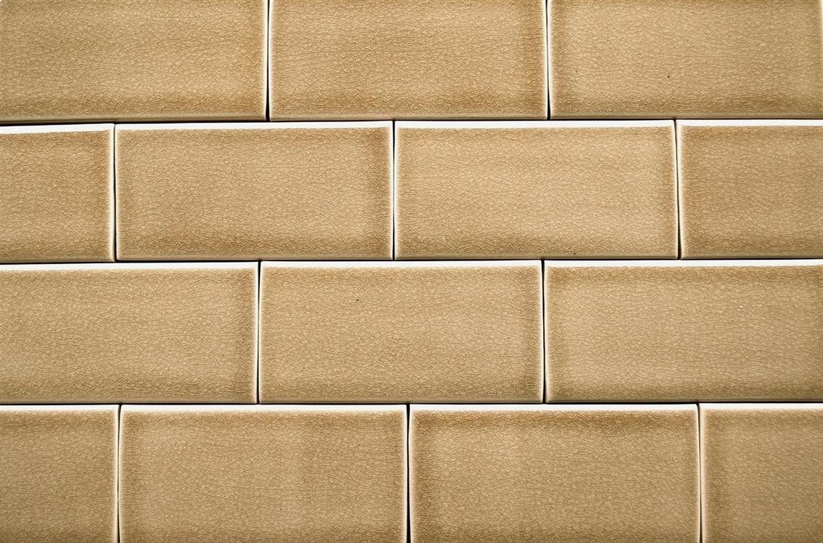 3x6 Cafe Latte Handmade Glossy Finish Crackled Ceramic Tile