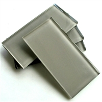Cool Gray Shiny 3x6 Subway Glass Wall Tile