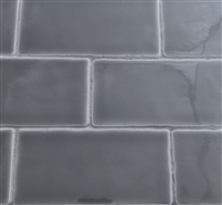 3x6 Dark Gray Glossy Subway Ceramic Tile