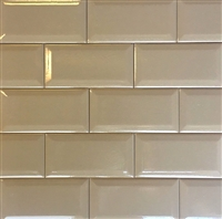 3X6 Light Brown Crackled Beveled Ceramic Tile