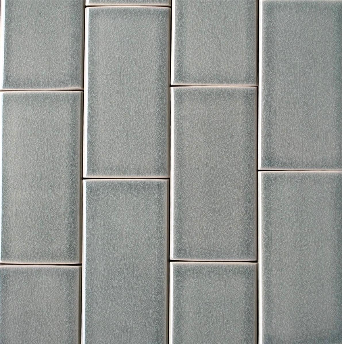 3x6 Mist Green Handmade Glossy Finish Crackled Ceramic Tile