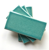 3x6 Turquoise Handmade Glossy Finish Crackled Ceramic Tile