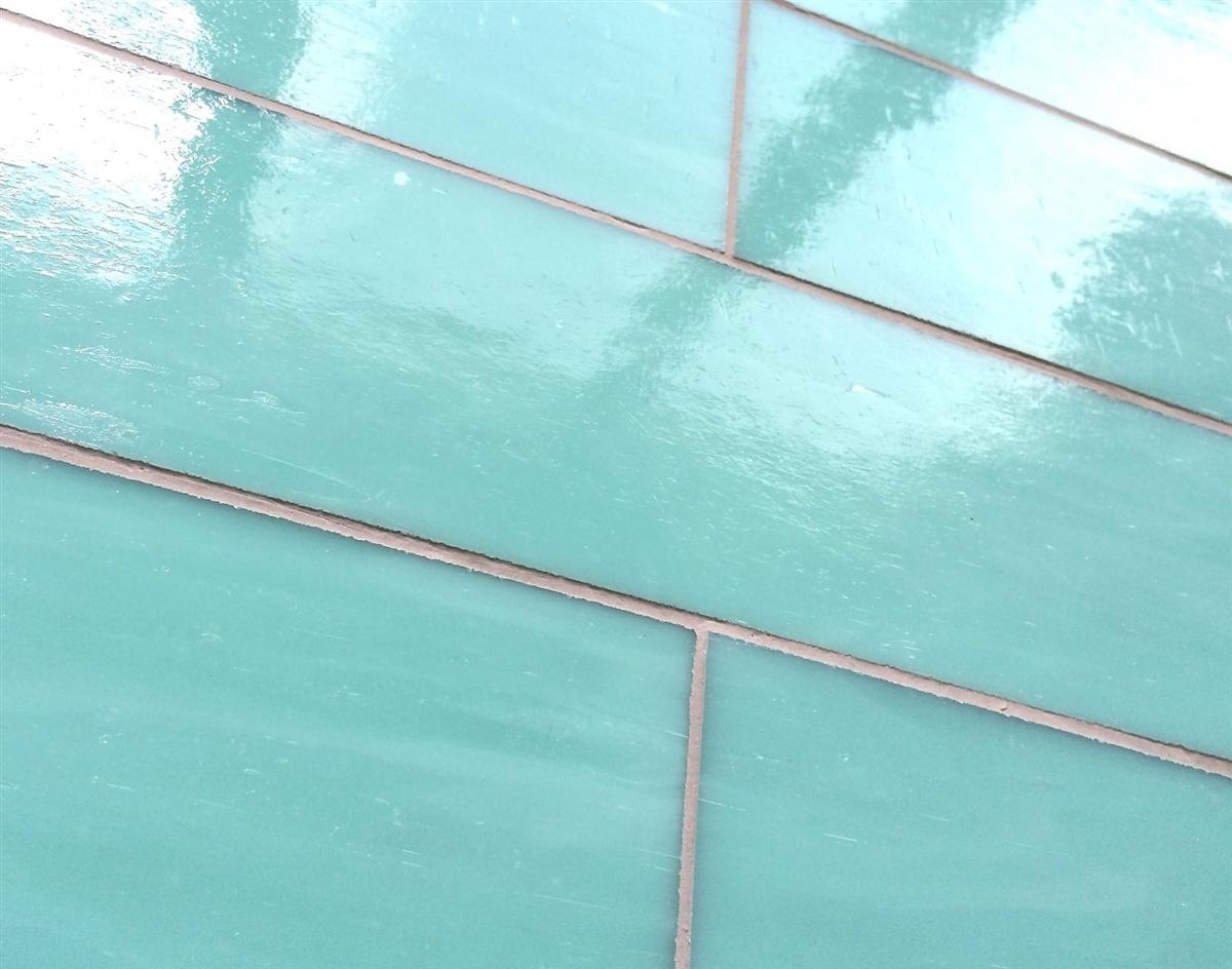 Turquoise 3x6 Subway Stained Backsplash