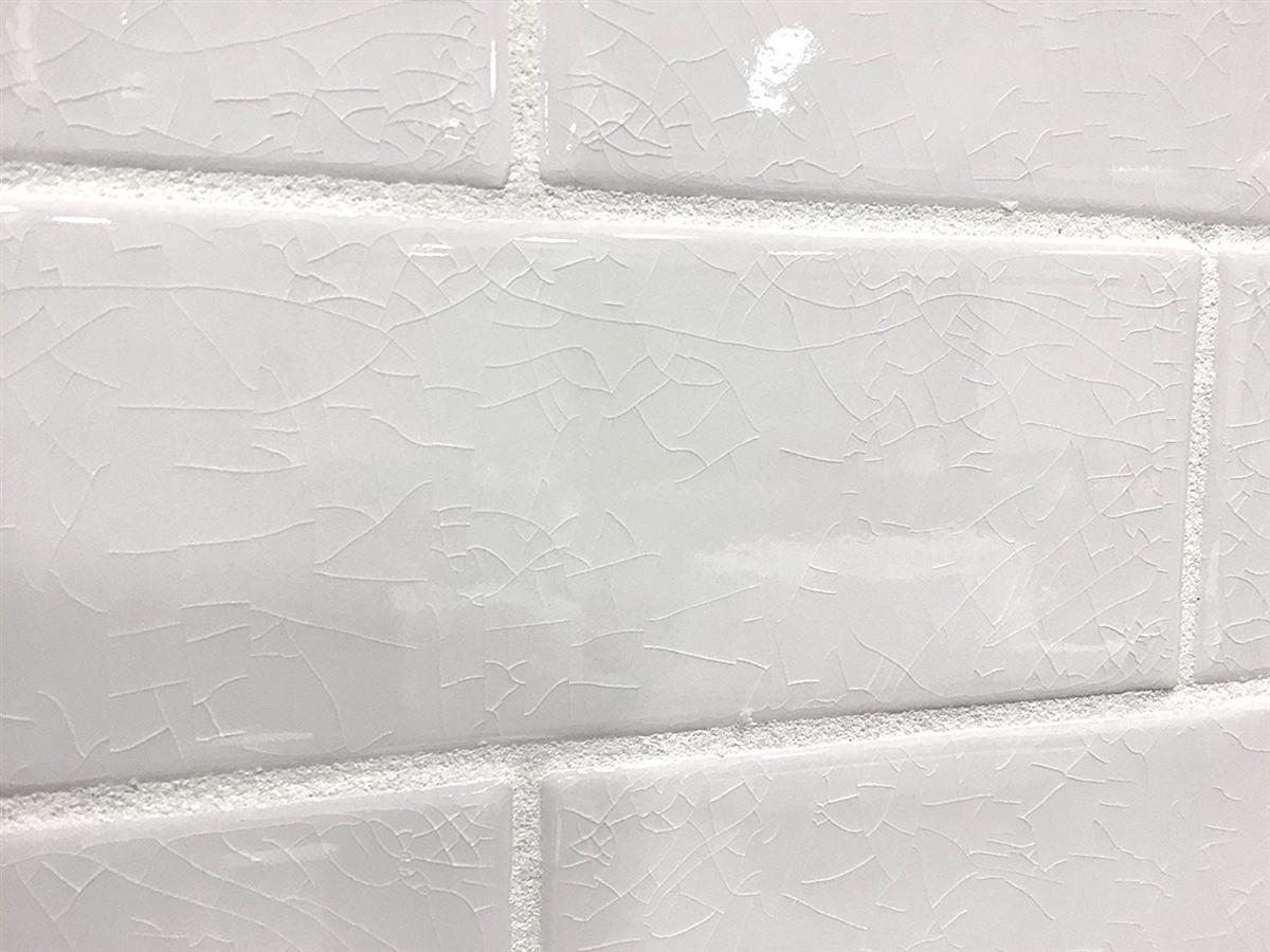 - 3x9 Vanilla Bean White Crackled Porcelain Tile