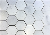 "Carrara White 4"" Hexagon Marble Mosaic Wall Floor Tile"