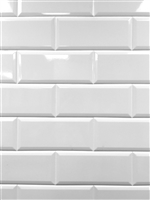 White 4x10 Beveled Shiny Ceramic Subway Tile