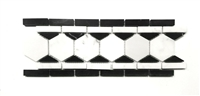 "4""x12"" Black and White Marble Decorative Border Wall Floor Tile"