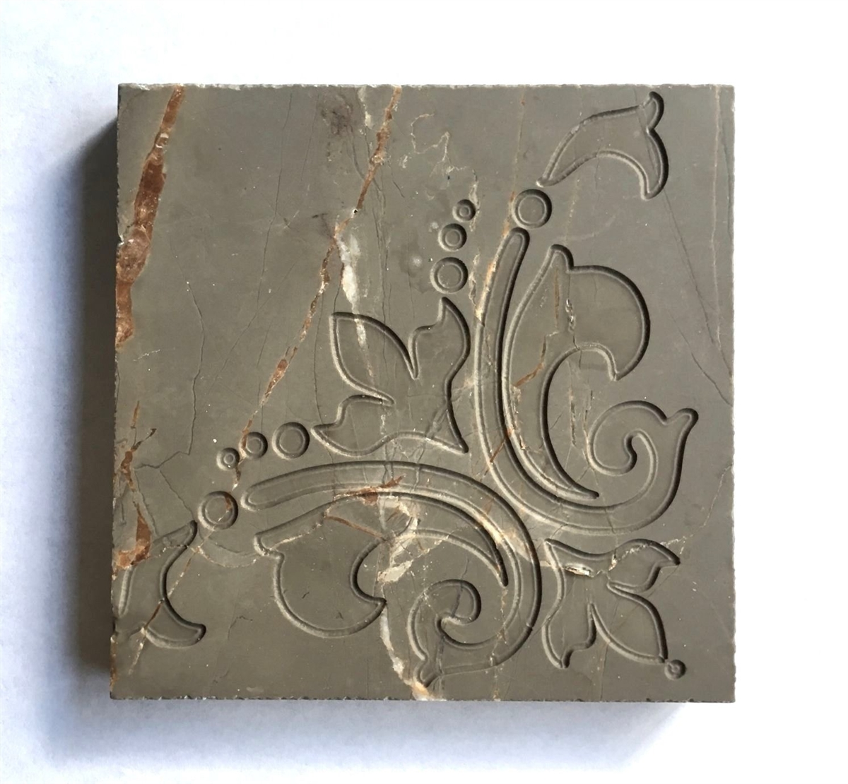 Amber Brown 4x4 Lilly Hand Carved In Marble Tile Decorative