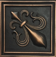 Fleur De Lis 4x4 Bronze Resin Decorative Accent Piece Wall Tile