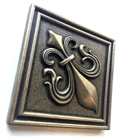 Fleur De Lis 4x4 Gold Resin Decorative Insert Accent Piece Tile