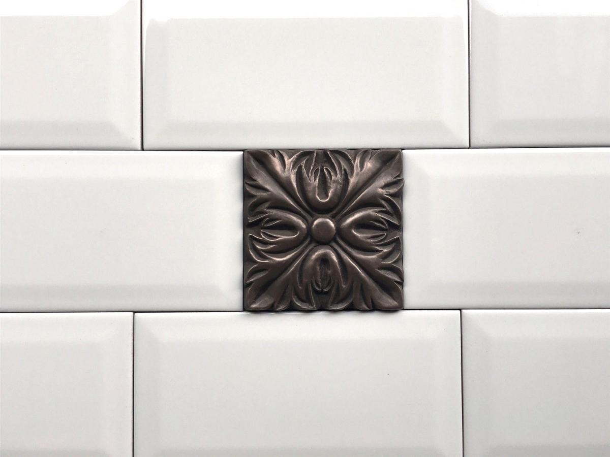 - Bronze Metallic 4x4 Resin Decorative Insert Accent Piece Tile