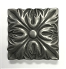 Floral Silver Metallic 4x4 Resin Decorative Accent Tile