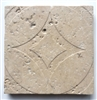 Light/Ivory 4x4 Circa Carved Handmade Travertine Stone Tile