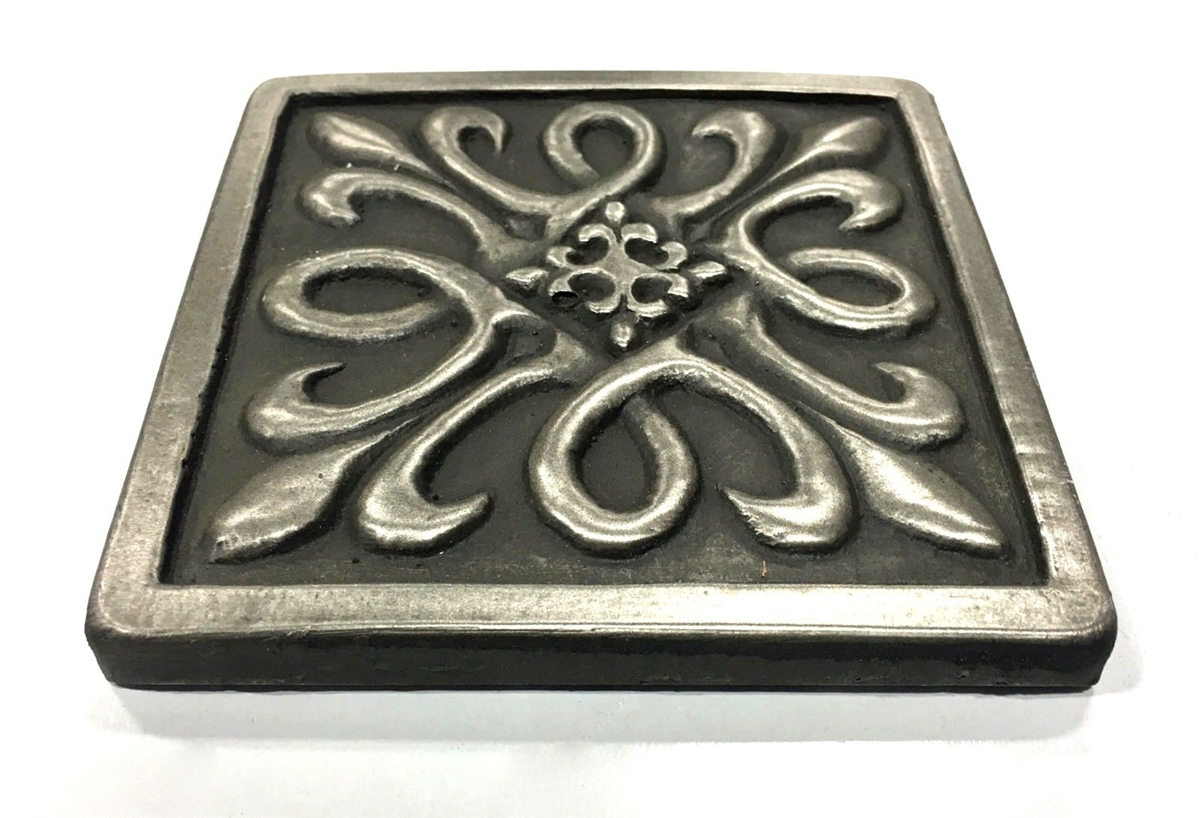 Nickel Metallic Metallic X Resin Decorative Insert Tile Accessory - Decorative 4x4 metal tiles