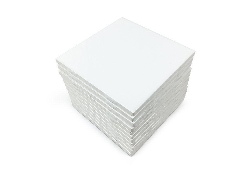 Set Of 12 Glossy White Ceramic Tiles For Arts Crafts 4x4 Backsplash