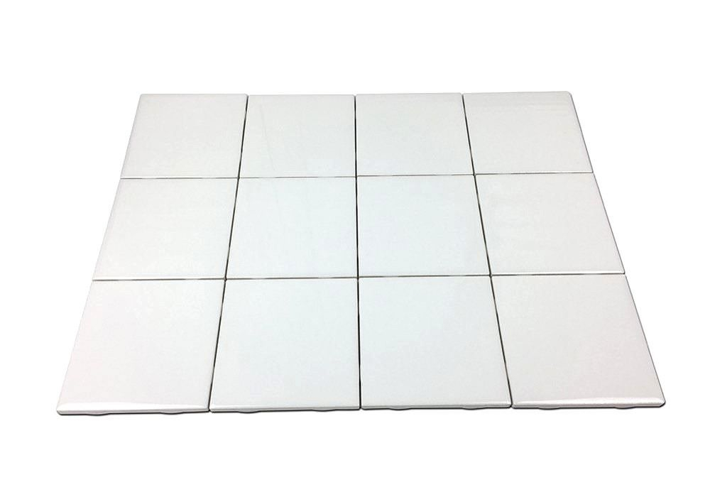 Set Of 12 Glossy White Ceramic Tiles For Arts Crafts 4x4 Backsplash