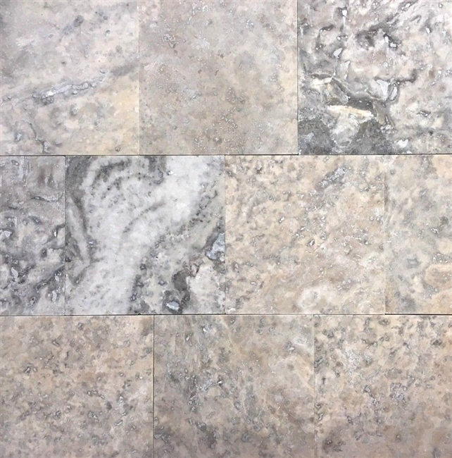 Silver 4x4 Honed Filled Travertine Mosaic Floor and Wall Tile