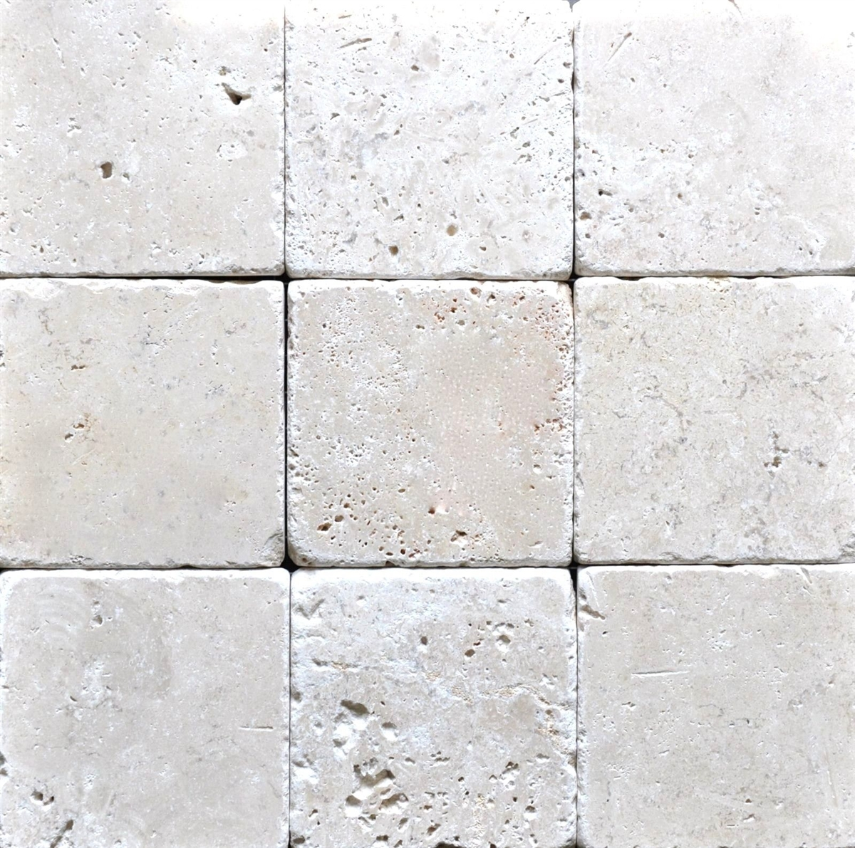 Light 4x4 Tumbled Antiqued Travertine Tile