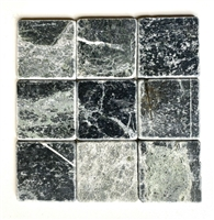 4x4 Victorian Dark Green Black Tumbled Marble Wall and Floor Tile