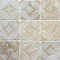Walnut Tumbled 4x4 Circa Carved Handmade Travertine Stone Decor Tile