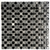 "La Jacond 5/8"" x 5/8"" Slate and Glass Blend Mosaic Wall Tile"