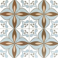 8.7 x 8.7 Cafe De Paris Larose Patterned Aqua/Latte Porcelain Tile