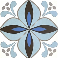 8.7x8.7 Cafe De Paris Larose Encaustic Pattern Aqua/Blue Ink Porcelain Tile 1pc