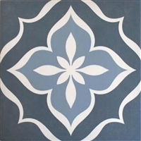 8X8 Flora Blue Porcelain Stoneware Patterned Wall and Floor Tile