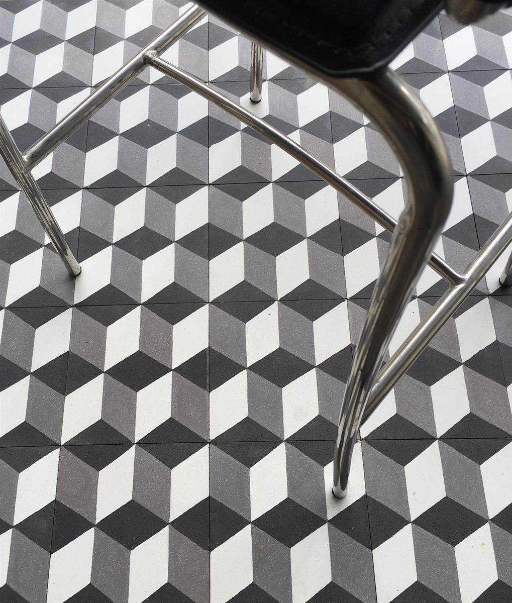 8x8 hexagonal 3 dimensional encaustic cement tile floor