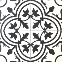 8x8 Flora Black White Porcelain Tile