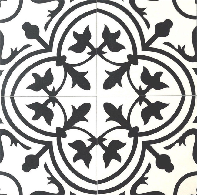 8x8 Flora Black White Porcelain Floor and Wall Tile