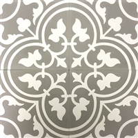 Flora Roseton Encaustic Soft Gray White 8x8 Honed Finish Cement Tile